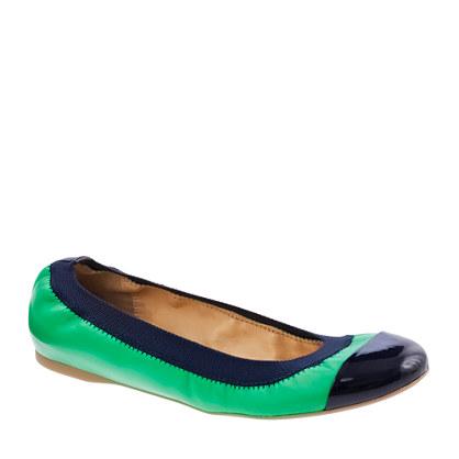 J Crew Mila Cap Toe Leather Ballet Flats In Green Lyst