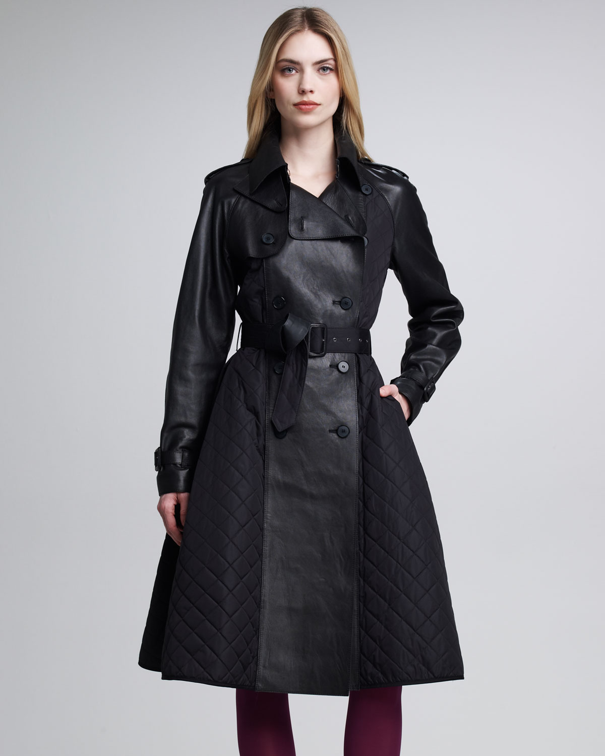 Jean paul gaultier Quilted Tech Leather Princess Coat in ...