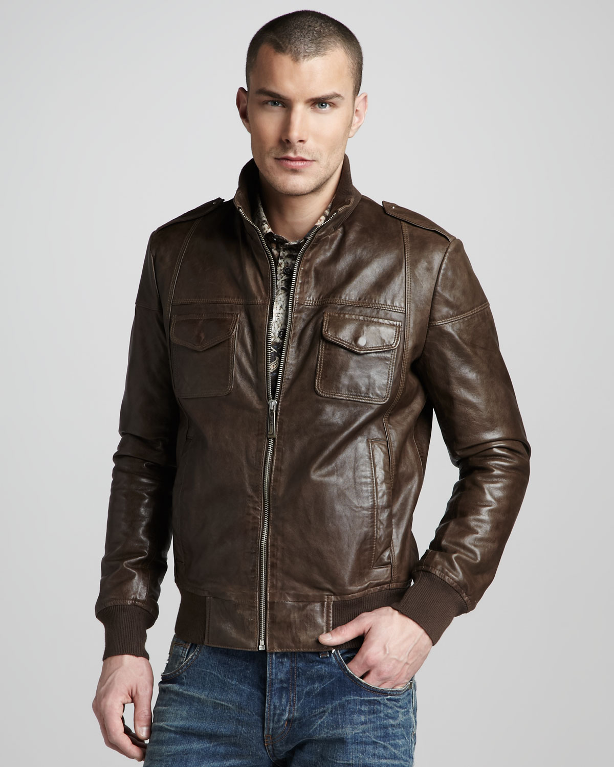 Just cavalli Leather Bomber Jacket in Brown for Men | Lyst