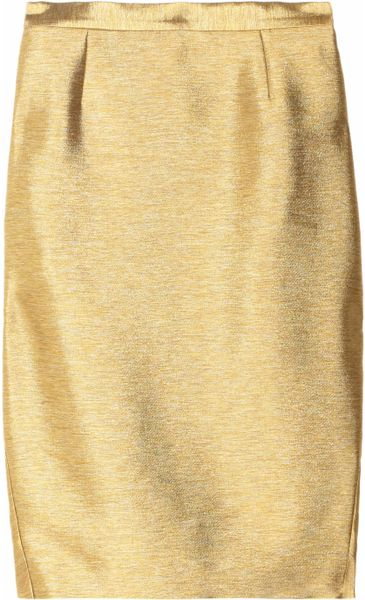 Just Cavalli Metallic Twill Pencil Skirt in Gold - Lyst