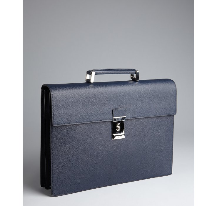 Prada Baltic Saffiano Leather Flap Briefcase in Blue for Men ... - Prada clutch baltic blue