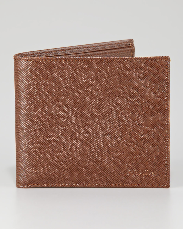f6ffde3543f31f ... closeout lyst prada saffiano bifold wallet in brown for men d9020 76a0c