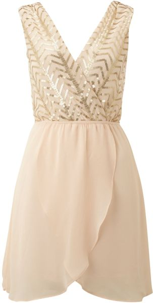 Tfnc Sequin Top with Cross Over Chiffon Skirt in Pink (cream)