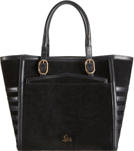 Christian Louboutin Farida Suede Leather Tall Shopper Tote in Black (red) - Lyst