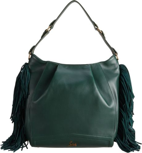 Christian Louboutin Justine Fringed Hobo in Green (red)