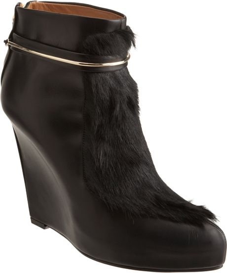 Givenchy Metal Strap Ponyhair Ankle Boot in Black (gold)