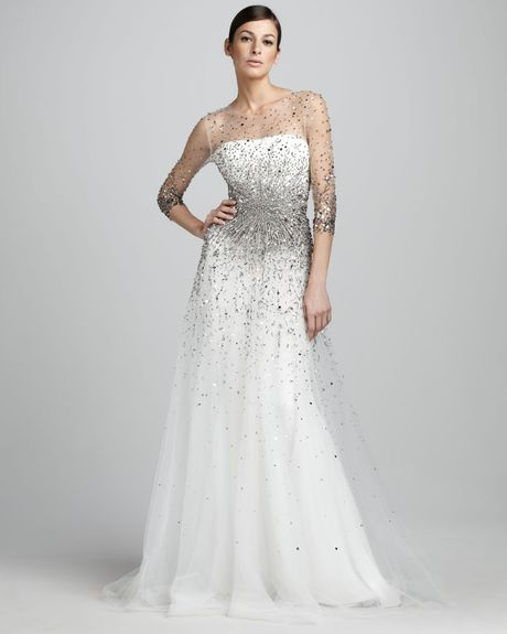 Marchesa Wedding Gown: Marchesa Sequined Illusion Gown In White (white/silver)