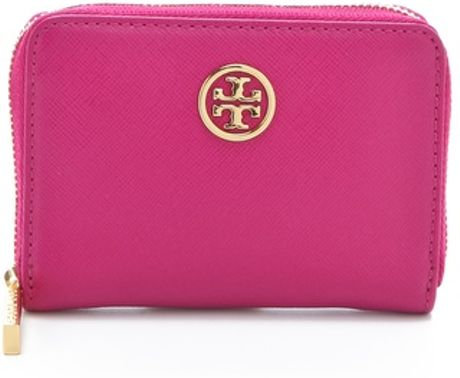 Tory Burch Robinson Zip Coin Case in Purple (magenta) - Lyst