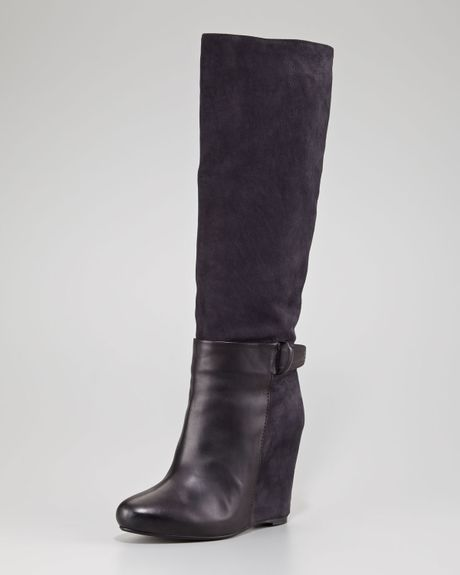vince suede and leather wedge boot in black black black
