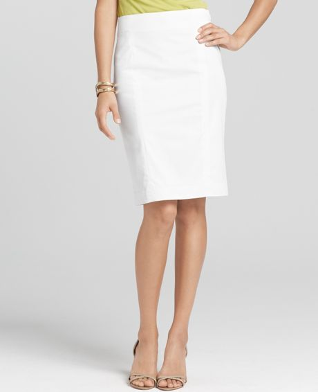back zip polished cotton pencil skirt in white