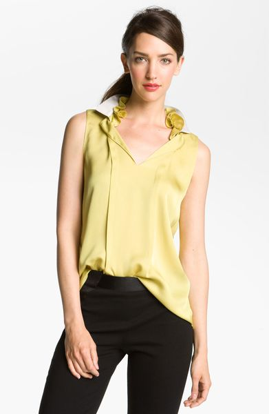 Elie Tahari Exclusive For Nordstrom Valeria Blouse in Yellow (saffron) - Lyst