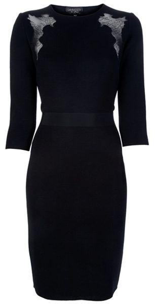 Giambattista Valli Lace Insert Dress in Black