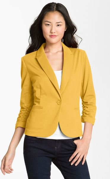Olivia Moon Ruched Sleeve Jacket In Yellow Yellow Raisin