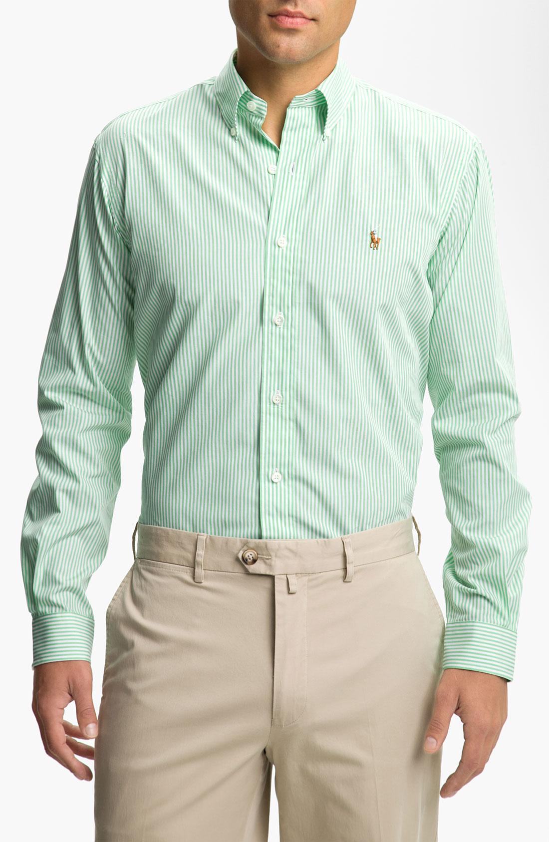 polo ralph lauren stripe sport shirt in green for men. Black Bedroom Furniture Sets. Home Design Ideas