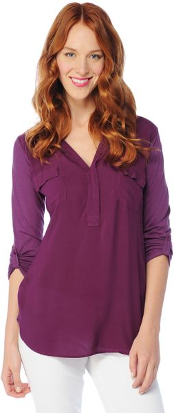 Splendid 34 Sleeve Shirting Top in Purple (boysenberry) - Lyst