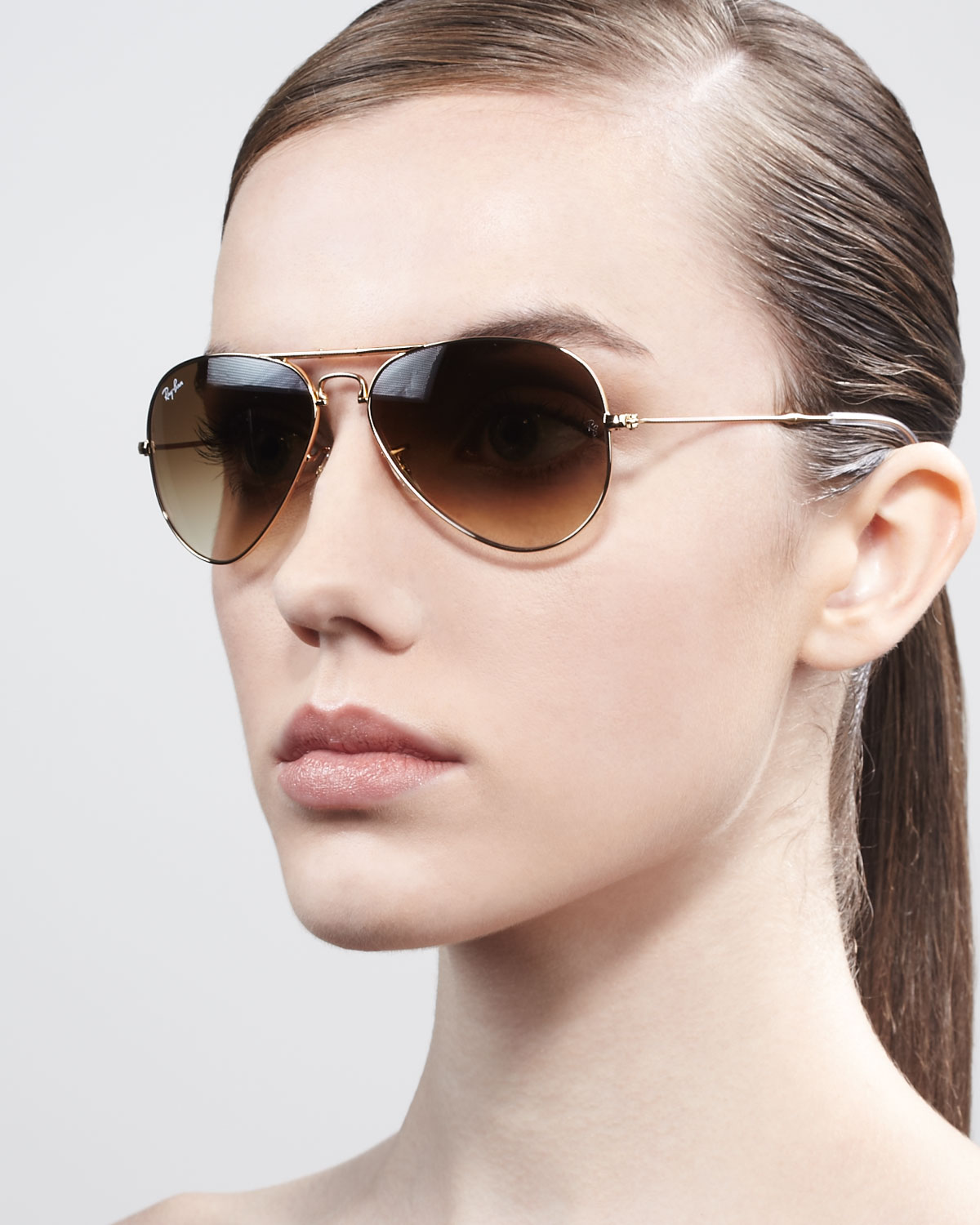 0a6a021647 ... gold frame c9f6b 34a7c  czech lyst ray ban foldable aviator sunglasses  in brown 95e93 d38ef