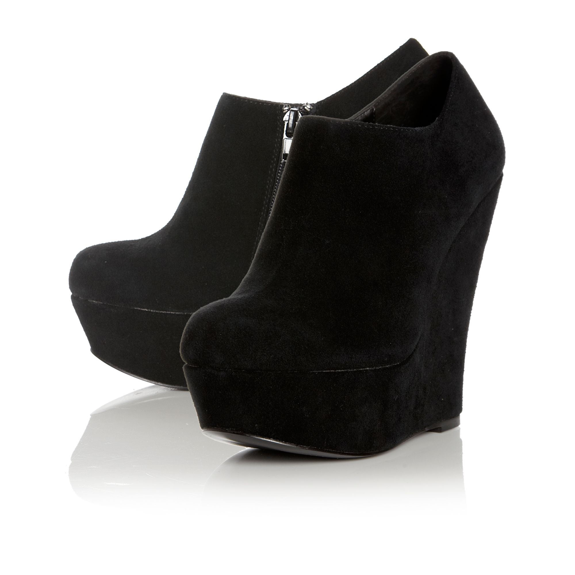 Steve madden Presure Sm Platform Wedge Ankle Boots in Black | Lyst