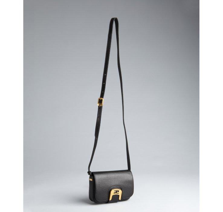 49febbf85467 Fendi Black Crosshatched Leather Chameleon Mini Crossbody Bag in ...