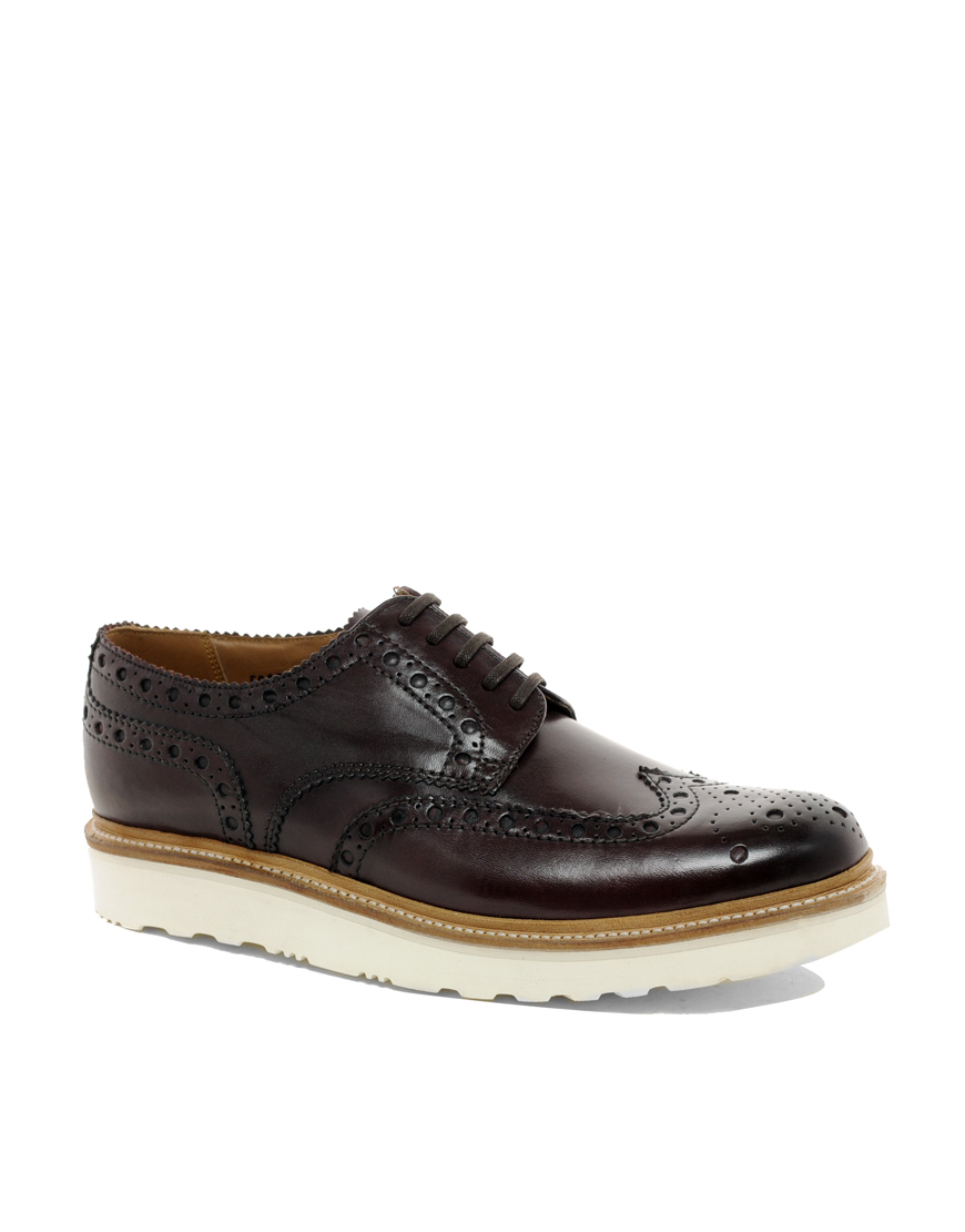 grenson archie vibram sole brogue shoes in for lyst