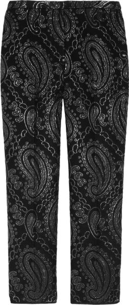 Marc Jacobs Paisley Jacquardpaneled Woolblend Satin Pants in Gray (black)