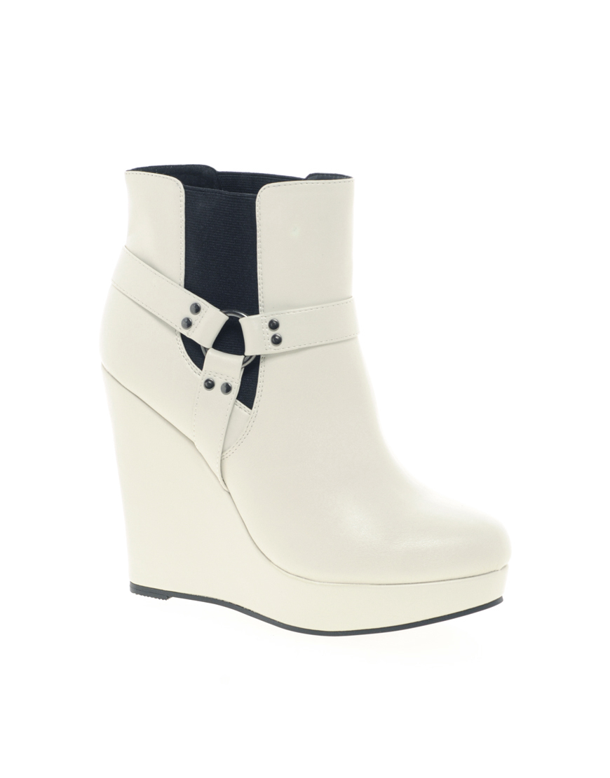 asos asos alarm wedge chelsea ankle boots in white