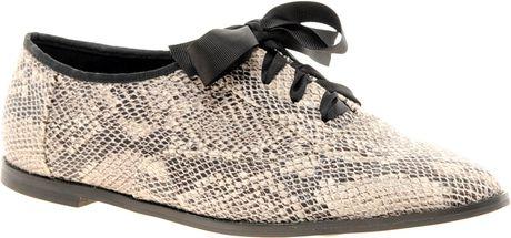 Asos Asos Milkshake Lace Up Flat Shoes in Beige (snake)