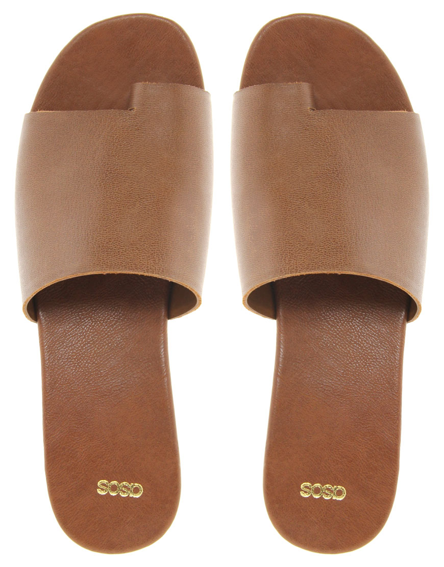 7837e99b9e39 Lyst - ASOS Asos Video Leather Flatform Shoes with Toe Loop in Brown