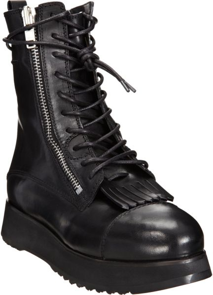 Costume National Fringe Combat Boot In Black Silver Lyst