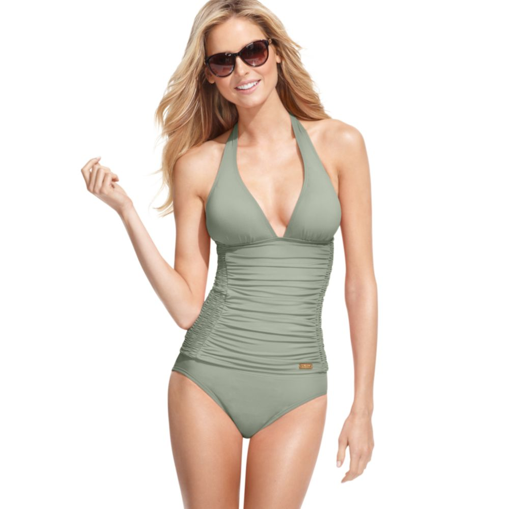 a29a4bdd4a471 Lyst - DKNY Halter Ruched Tankini Top in Green