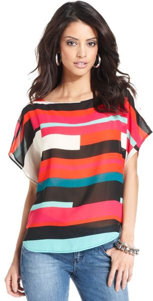 Guess Judy Shortsleeve Boatneck Printed Blouse in Multicolor (white