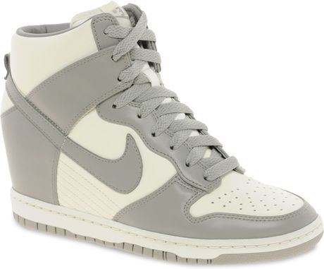 nike fast love sky high wedge sneakers in gray grey lyst