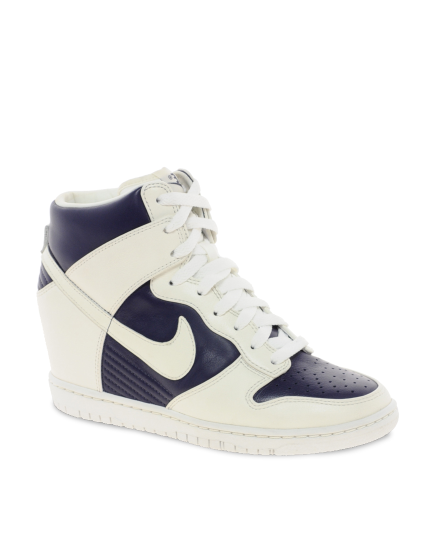 nike fast love sky high wedge sneakers in white imperialblue lyst. Black Bedroom Furniture Sets. Home Design Ideas