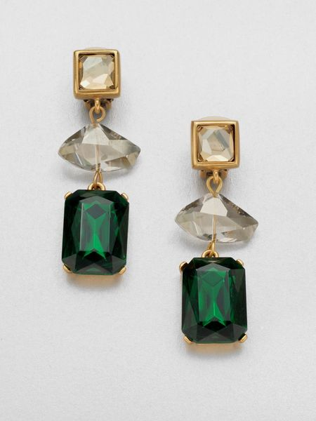 Oscar De La Renta Faceted Clipon Earrings in Green (emerald) - Lyst