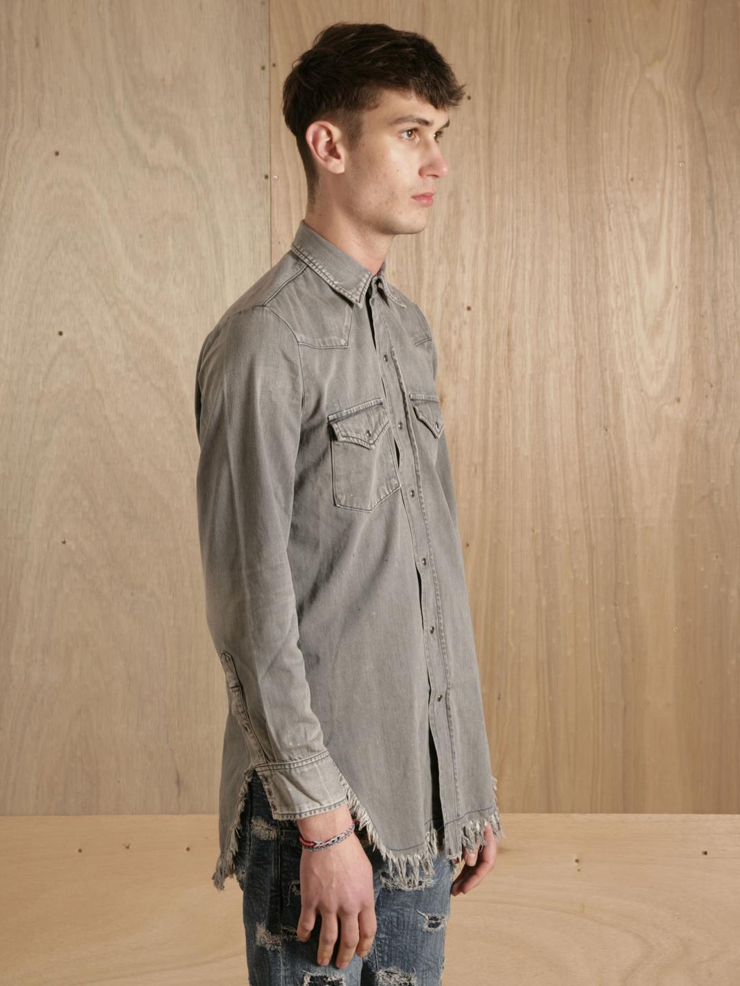 Sasquatchfabrix sasquatchfabrix mens fringe denim shirt in for Mens shirt with tassels