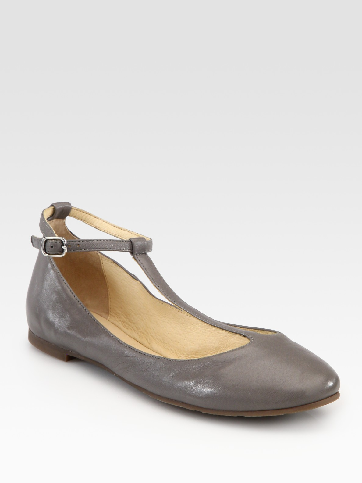 5263a99b213 Lyst - See By Chloé Leather Tstrap Mary Jane Ballet Flats in Gray