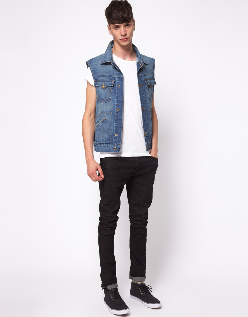 Denim gilet mens