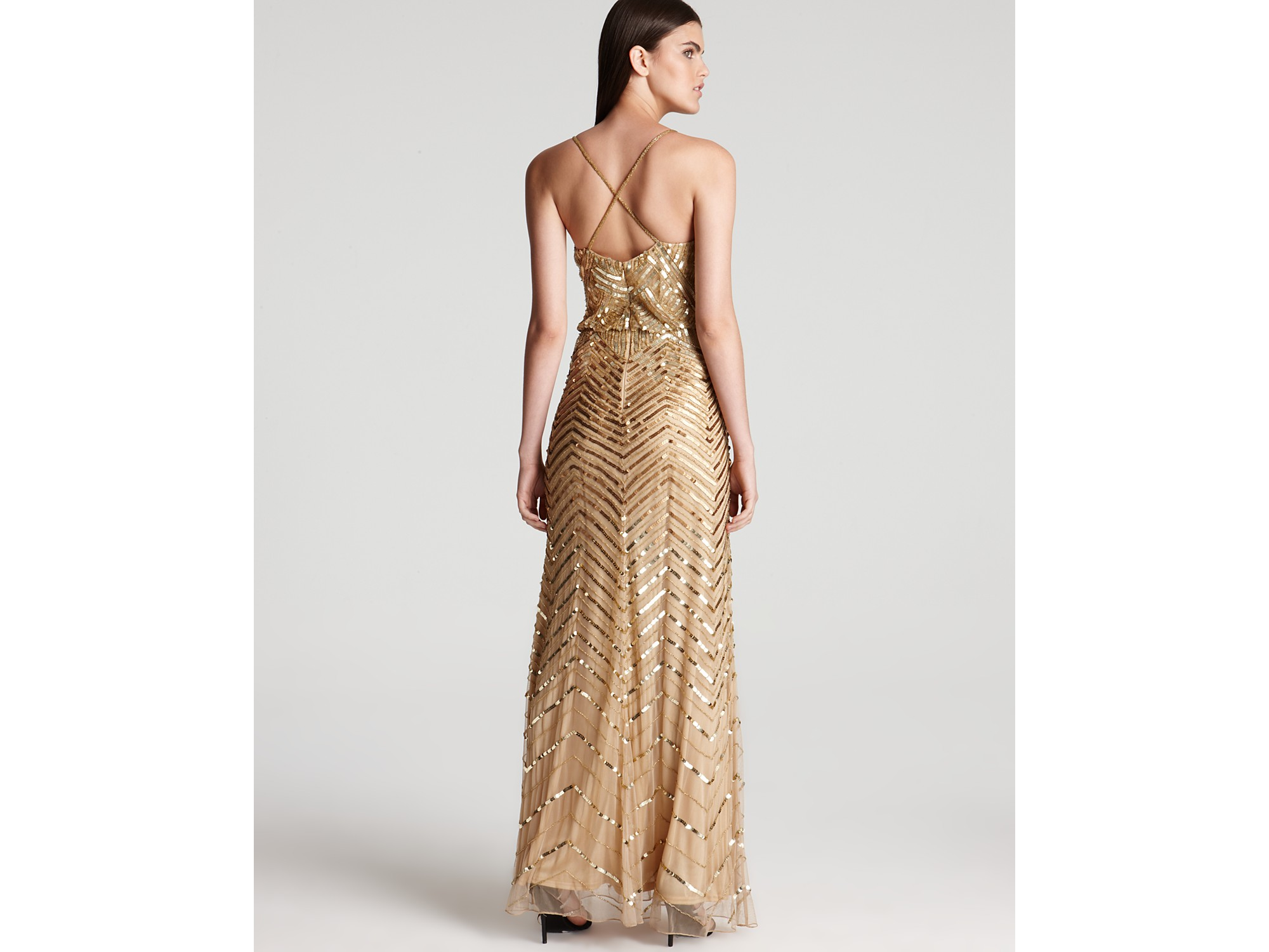 Adrianna papell Beaded Gown Sleeveless V Neck Blouson in Metallic ...