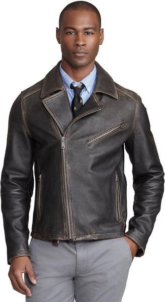 Brooks Brothers Motorcycle Jacket in Black for Men (dark-brown)