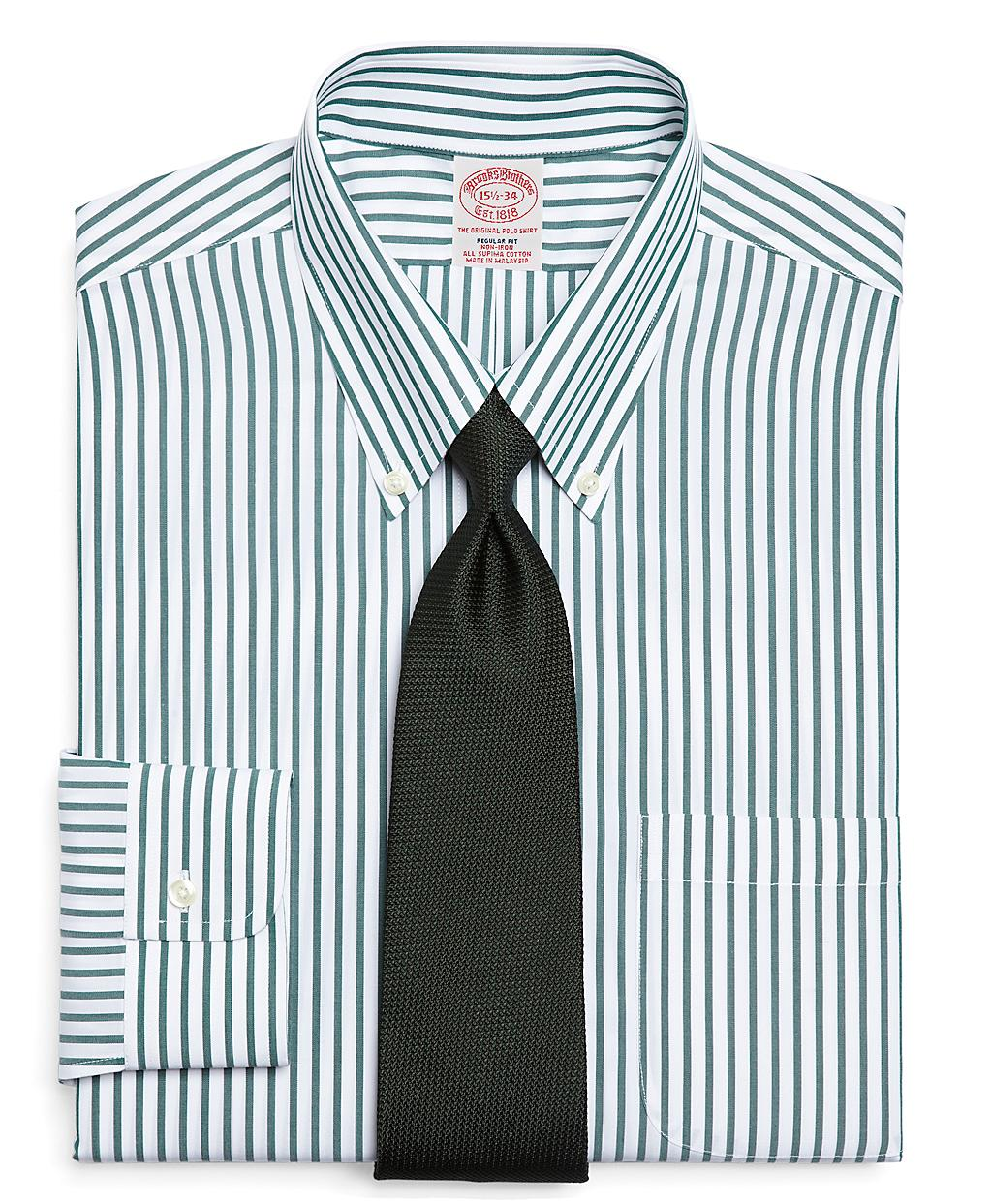 Brooks brothers supima cotton noniron regular fit bold for Brooks brothers dress shirt fit guide
