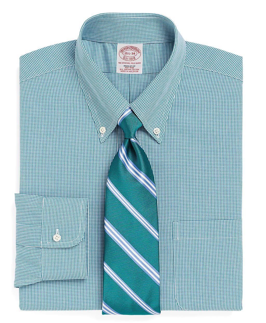 Brooks brothers supima cotton noniron regular fit shadow for Supima cotton dress shirts