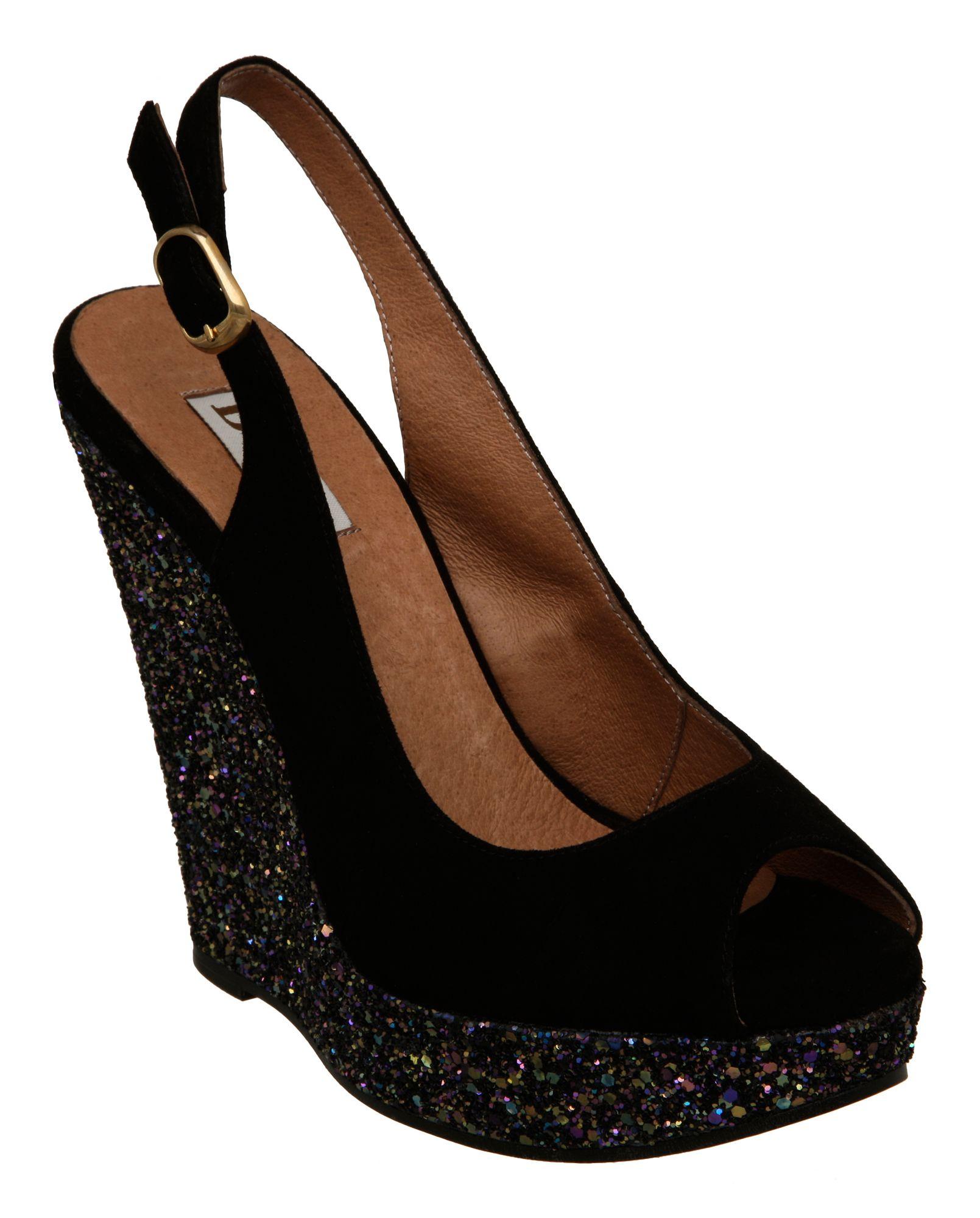 dune hoopie glitter wedge sling back sandals in black lyst