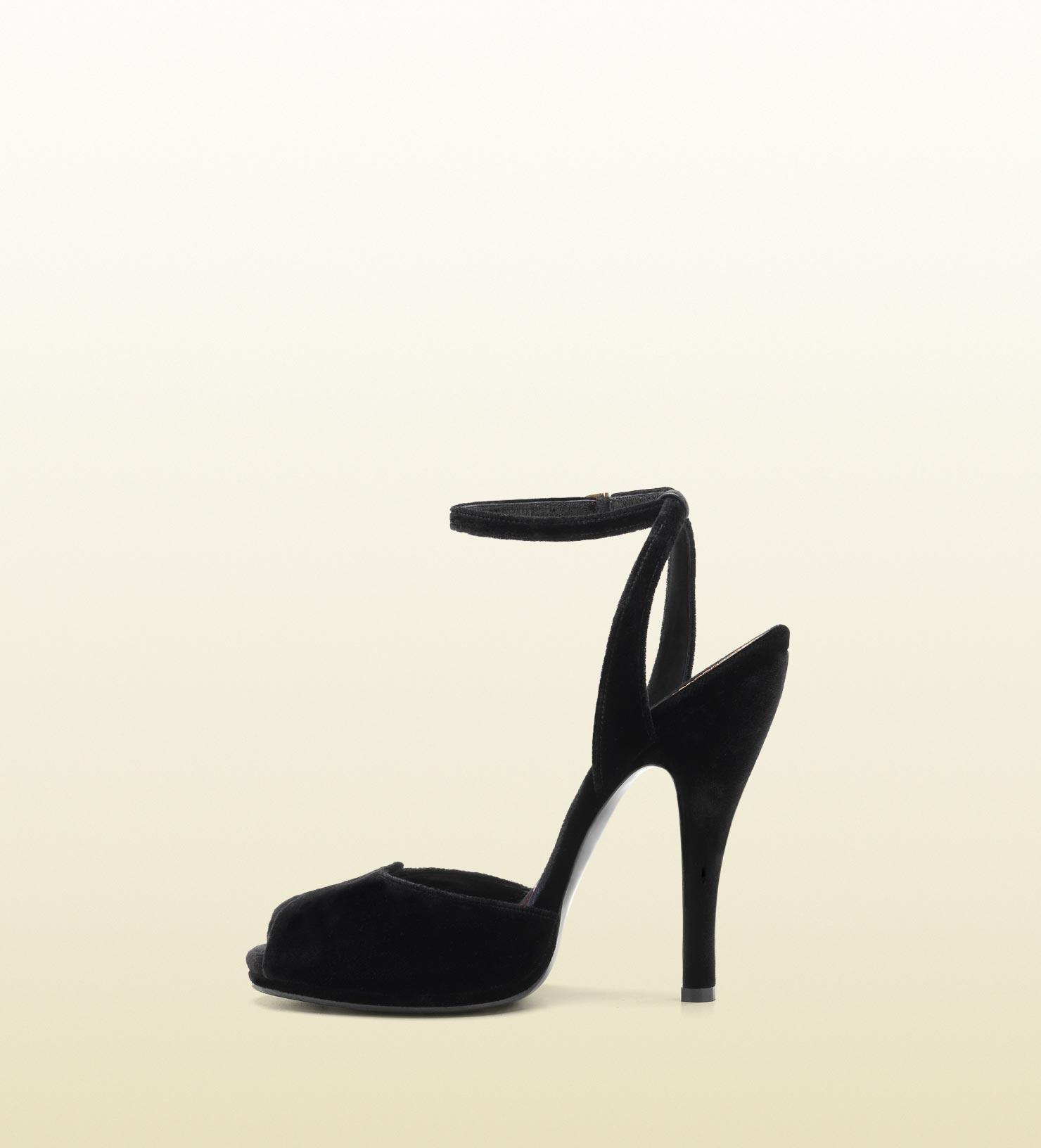 Lyst Gucci Rose Opentoe High Heel Velvet Sandal In Black