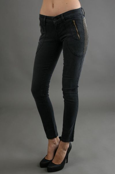 James Jeans Polo Zip Super Skinny in Slate Studded in Gray (slate)