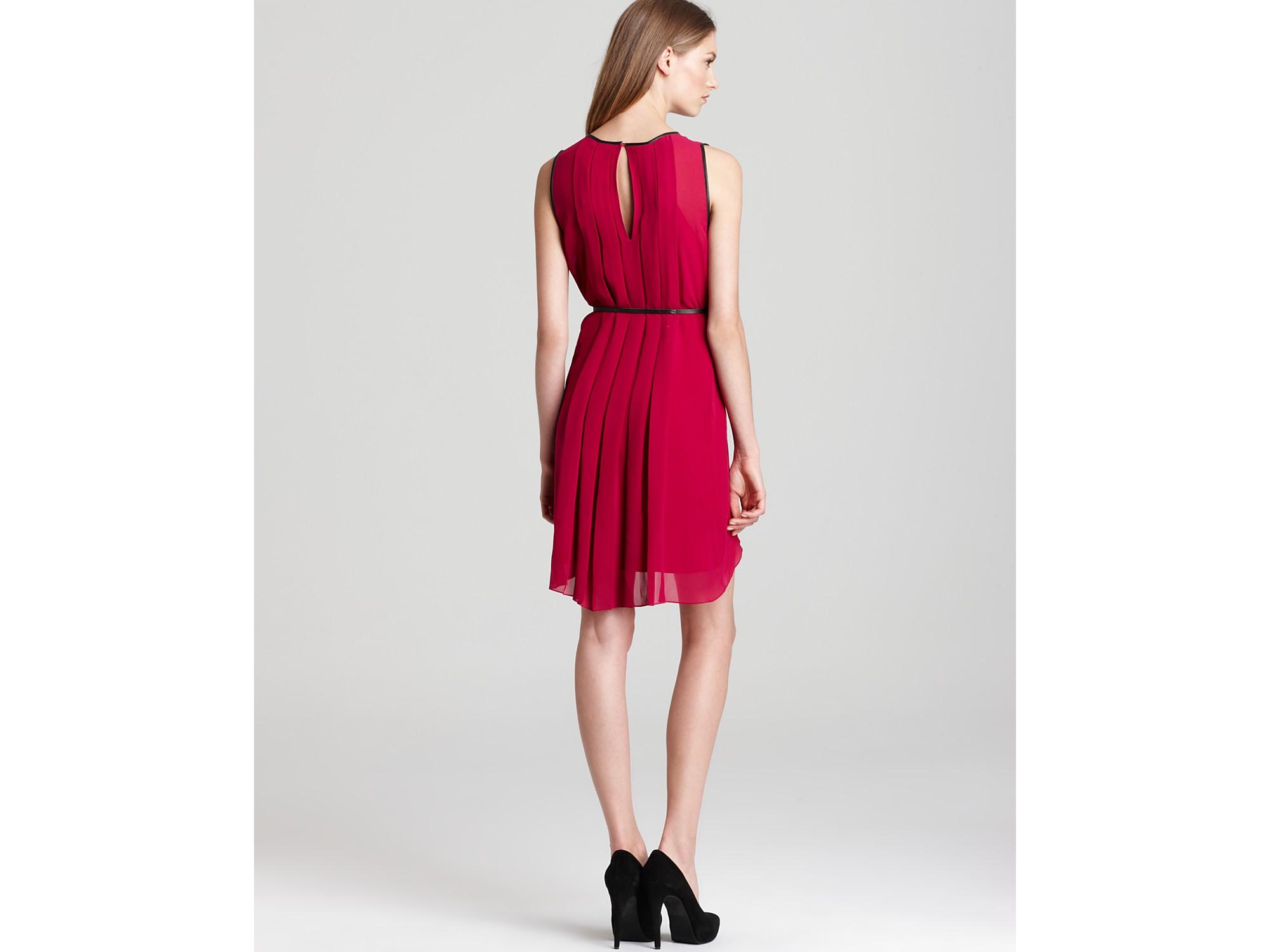 Lyst Sachin Amp Babi Varna Pleat Body Dress With Belt In Red