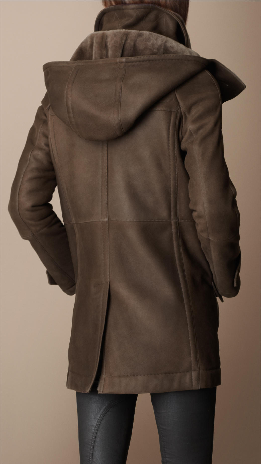 Burberry brit Hooded Shearling Duffle Coat in Brown | Lyst