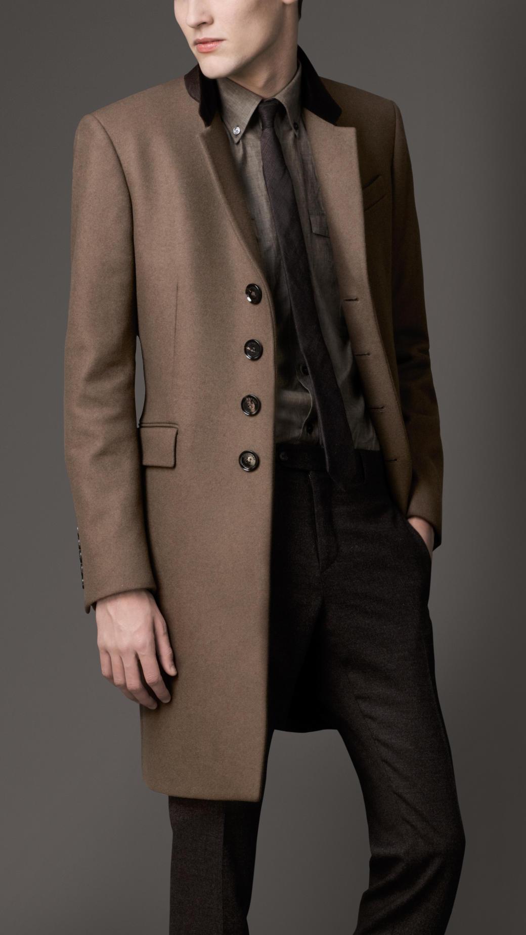 Burberry Velvet Collar Wool Coat in Brown for Men | Lyst