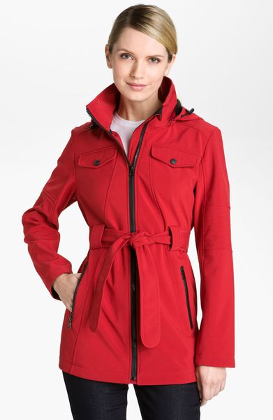 London Fog Belted Jacket with Detachable Hood in Red