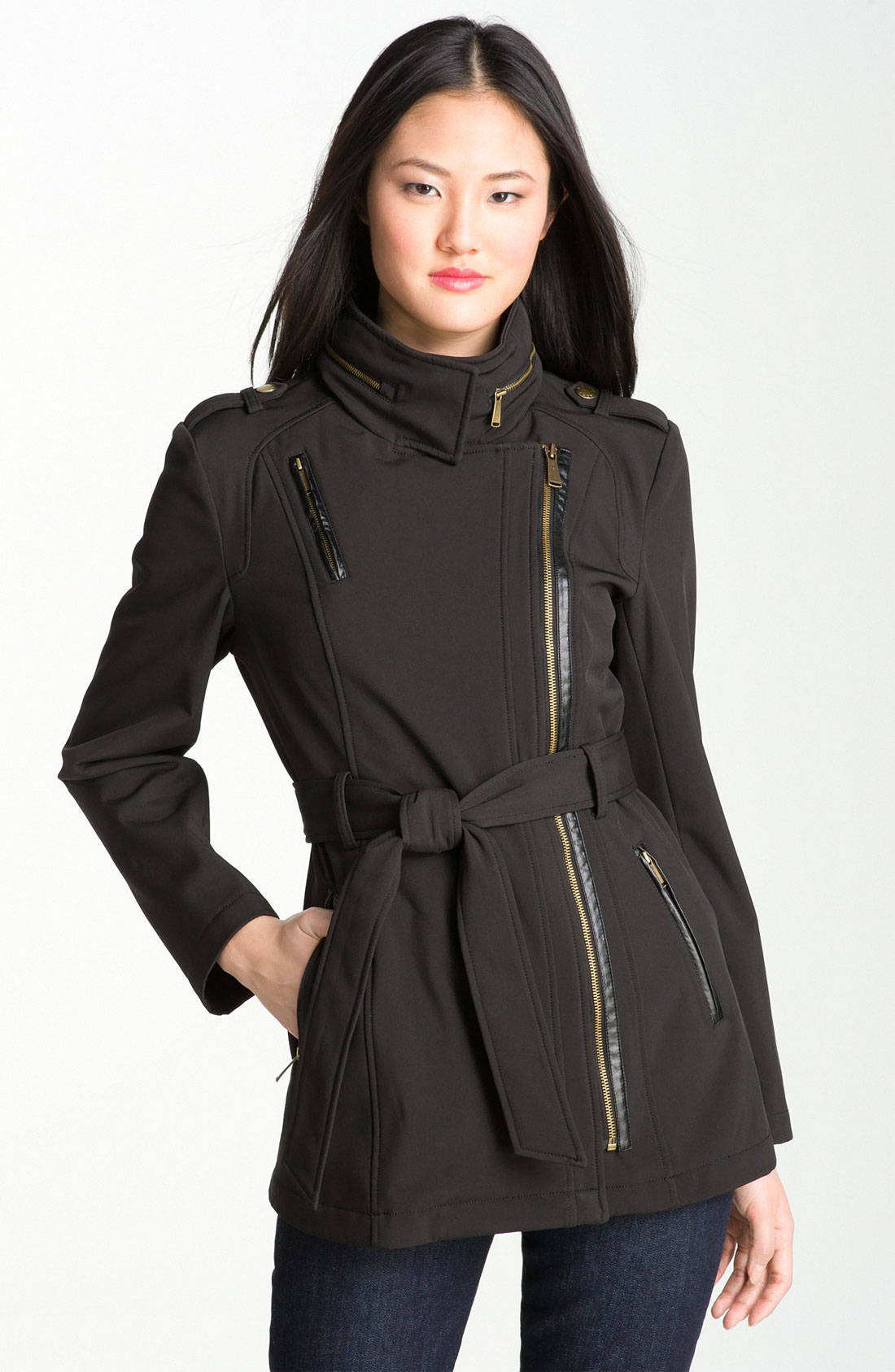 michael michael kors asymmetrical trench coat in black lyst. Black Bedroom Furniture Sets. Home Design Ideas
