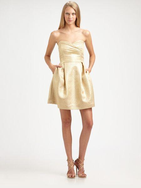 Shoshanna Metallic Jacquard Dress In Gold Lyst