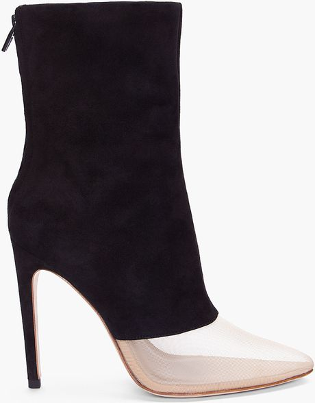 Alexander Wang Black Suede Cameron Ankle Boots in Black